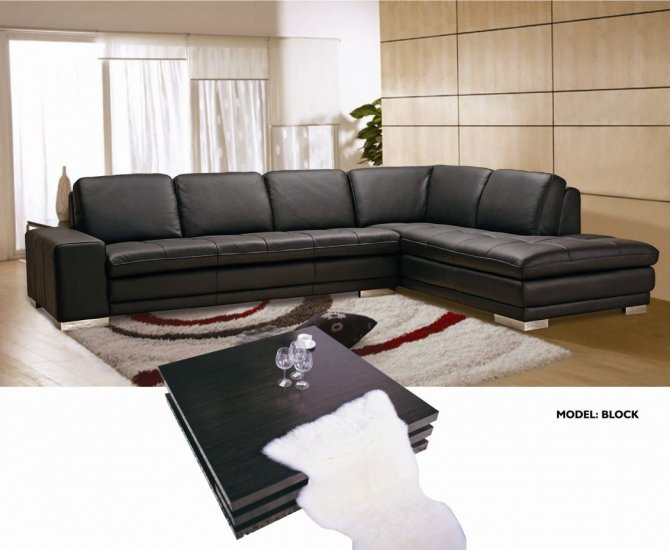Block Modern Leather Sectional - Click Image to Close